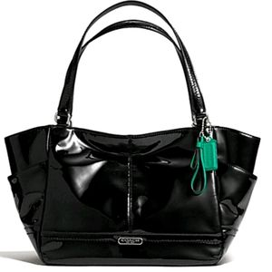 Coach black Park Patent Leather Carrie Tote F23979